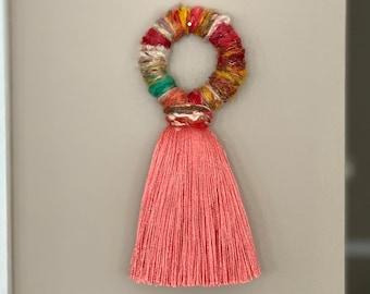 XL Jumbo Boho Doorknob Or Wall Tassel Coral Metallic Rainbow