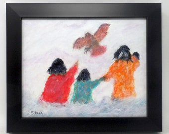 """RED-TAIL SURPRISE. Original 8""""x10"""" impressionist painting. Western. Southwest. Charlie Stone. Native American Indian. Colorado. Framed."""