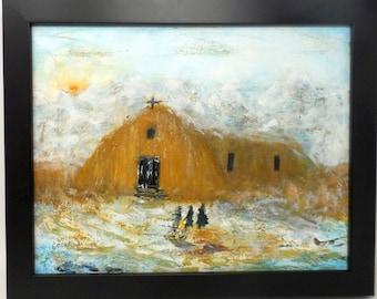 "MORNING PRAYERS. Original 11""x14"" impressionist painting. Colorado artist. Charlie Stone. Southwest. Western. Mountain. Church. Prayer."