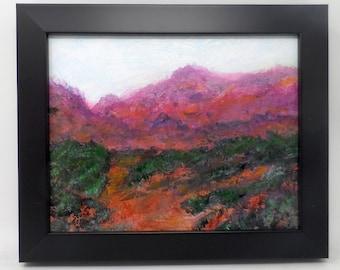 "DESERT WASH. Original 8""x10"" impressionist landscape painting. Charlie Stone. Colorado. Western. Southwest. Mountains. Desert. Framed."
