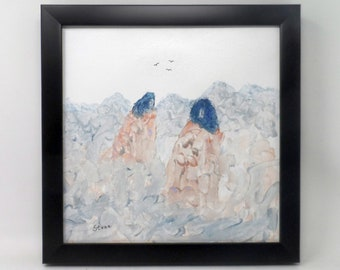 "HERBAL HUNT. Original 12""x12"" impressionist painting. Colorado artist. Charlie Stone. Native American Indian. Western. Southwest."