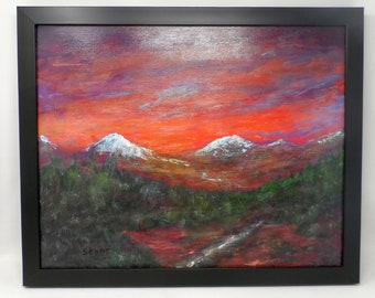"""SCARLET TWILIGHT. Original 16""""x20"""" impressionist painting by Colorado artist Charlie Stone. Framed. Gallery wrap. Ready to hang."""
