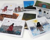 Random assortment of 8 notecards digitally reproduced from original paintings by Charlie Stone. Acid-free.