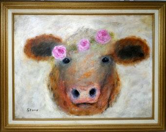 "MADAM BOVINE. Original 18""x24"" impressionist oil painting. Charlie Stone. Cow painting. Colorado artist. Framed."