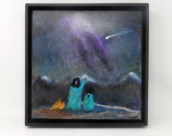 """TEACHING MOMENT. Original 12""""x12"""" impressionist painting. Native American Indian. Comet. Star gazing. Western. Colorado. Charlie Stone."""