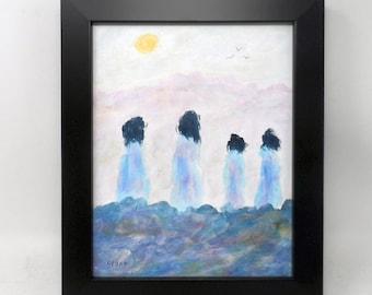 "BIRD WATCHING. Original 8""x10"" impressionist painting. Native American. American Indian. Western. Colorado artist. Charlie Stone. Framed."