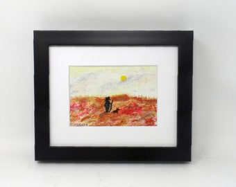 """AFTERNOON ALONE. Original 5""""x7"""" impressionist painting. Colorado artist Charlie Stone. Southwest. Western. New Mexico. Framed."""