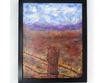 "LONELY CEDAR. Original 16""x20"" oil painting. Charlie Stone. Colorado artist. Southwest Landscape. Western. Gallery wrap canvas. Framed."
