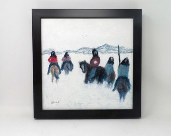 """VALLEY CROSSING. Original 12""""x12"""" impressionist painting. Native American Indian. Western. Southwest. Colorado. Charlie Stone."""