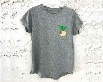 Radish Shirt, Food T-Shirt, Vegetable Tee, Graphic Print Shirt, Radish T-Shirt, Farm Clothing, Womens Shirts, Food Clothing, Vegetables
