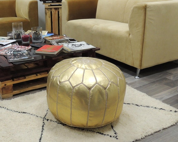Gold Leather Poufmoroccan Handcrafted Leather Pouf Ottoman