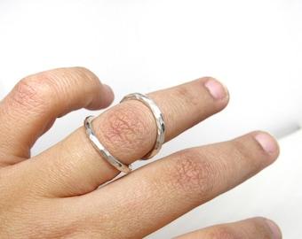 Adjustable Splint Ring • Wire Hammered Splint Ring for PIP or DIP Joints • Sterling Silver • RA Rheumatoid Arthritis Splint • Arthritis Ring