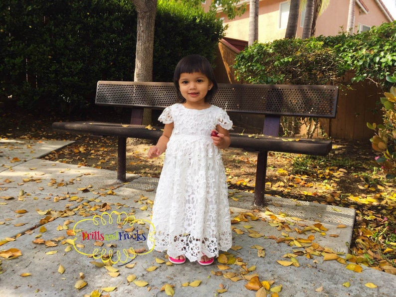 White Lace Baby Girl Dress Baby Girl Cotton Dress White Gown image 0