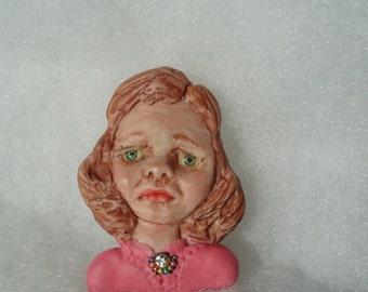 Ooak Girl brooch/ wearable art/ sad face brooch/ grumpy face jewellery.