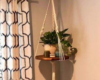 Round Macrame Hanging Shelf