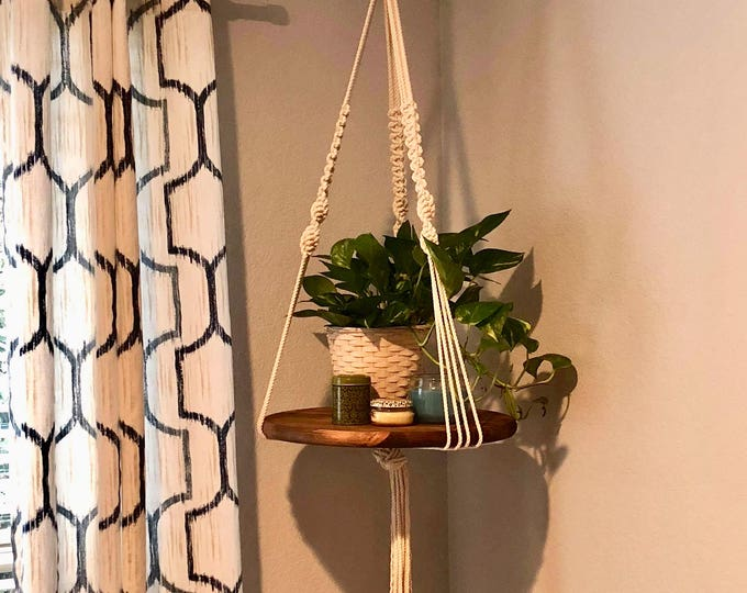 Featured listing image: Round Macrame Hanging Shelf