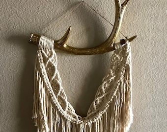 Macrame Wall Hanging on Gold Antlers from Anthropologie