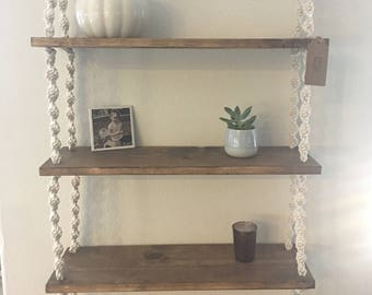 Three Tier Bohemian Hanging Macrame Shelf