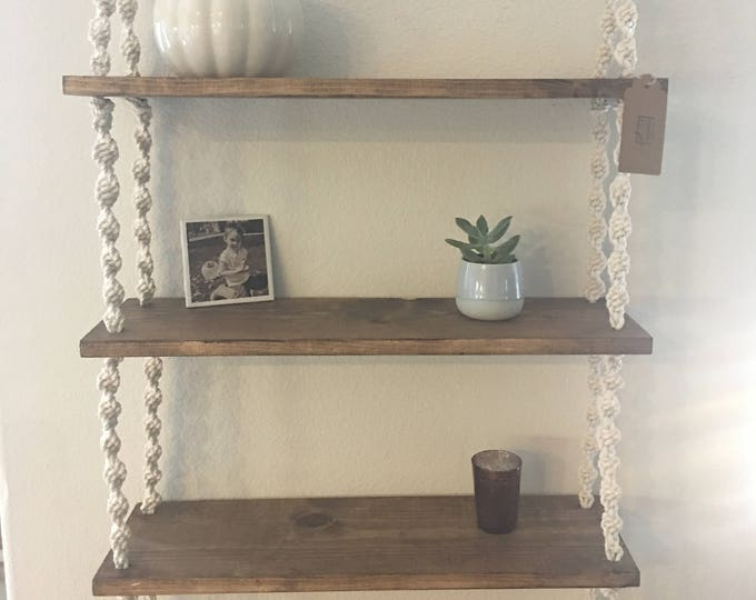Featured listing image: Three Tier Bohemian Hanging Macrame Shelf