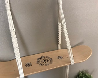 Bohemian Skateboard Macrame Shelf