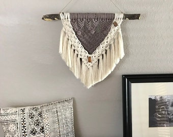 Taupe and Cream Macrame Wall Hanging