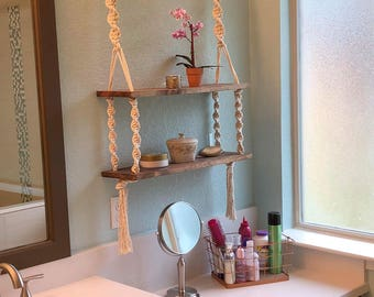 Double Bohemian Hanging Macrame Shelf