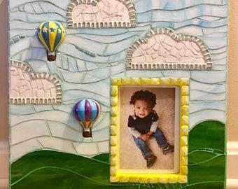 Rolling Hills Picture Frame, Original Art, Mixed Media, Mosaic