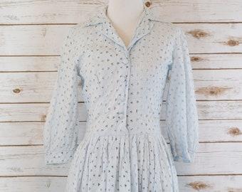 50s Baby Blue Eyelet Dress