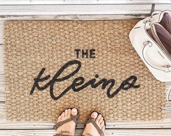 Last Name Door Mat, Family Name Mat, Custom Doormat, Hand Painted Door Mat, Personalized Door Mat, House Warming, Welcome Mat, Outdoor Mat