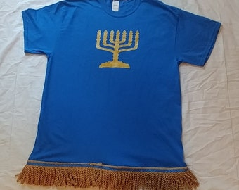Hebrew Israelite T-Shirt w/ Holy Menorah & Premium Gold Fringes  (Blue)