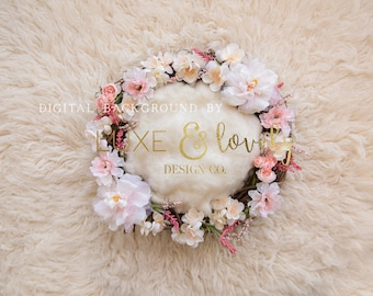 Newborn Photography Digital Background Prop, Pink and Cream Flowers