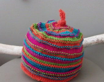Fabulous Colours In This Beautifully Handmade Top Knot Child's Beanie. Great Gift!