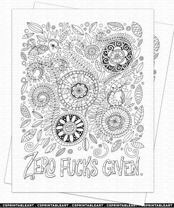 Adult Colouring Zero Fucks Given Swear Word Coloring Book Etsy