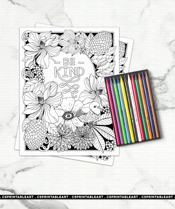 Be Kind Adult Coloring Page Printable Art Positive Quote Etsy