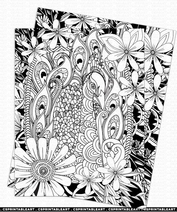 Adult Colouring Printable Coloring Page Peacock Etsy