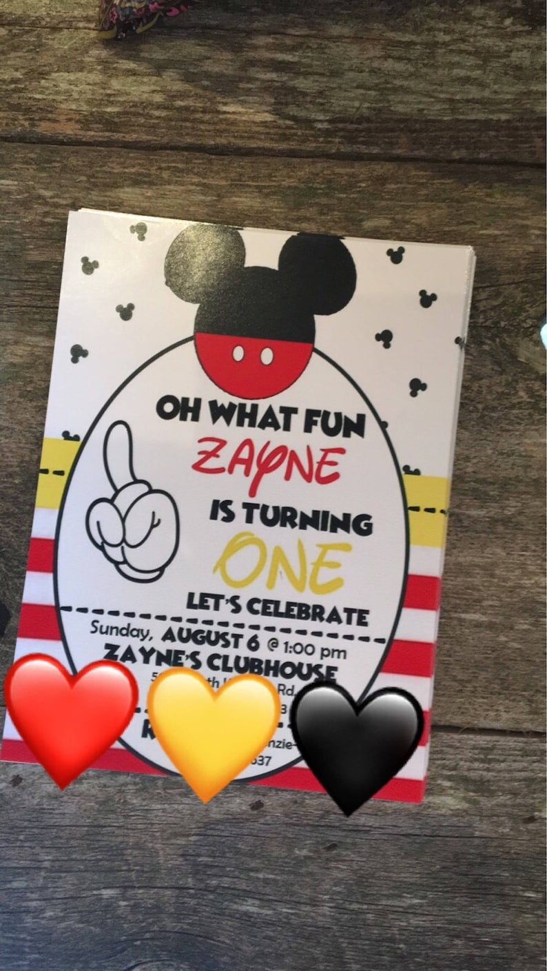 Custom Mickey Mouse 1st Birthday Invitation