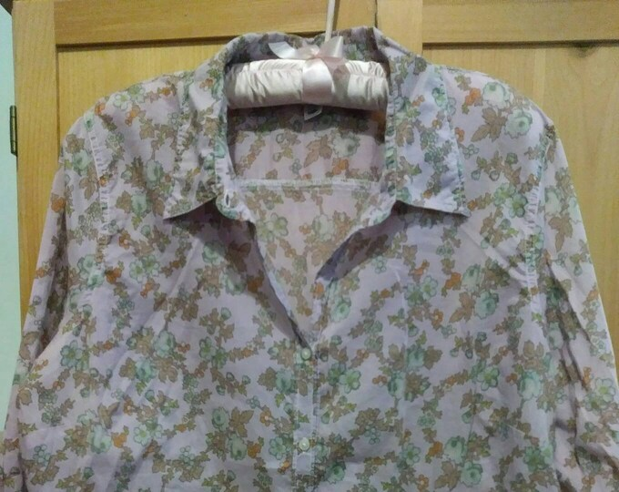 Old Navy vintage Petite floral fitted blouse 80s