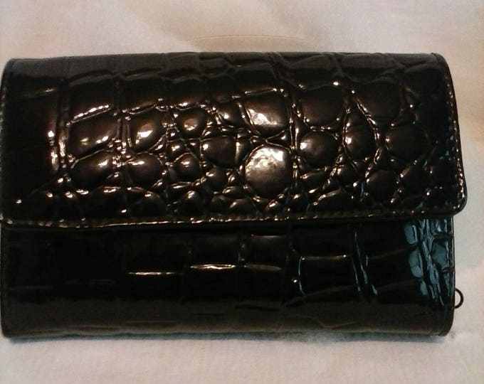 Faux Crocodile black patton leather wallet