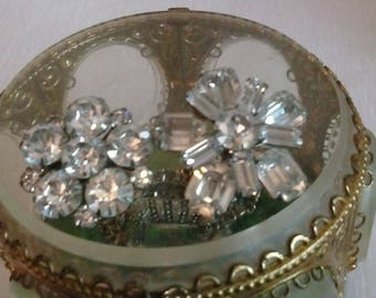 Vintage Rhinestone Brooches. 50s  Lovely cut lots of sparkle.
