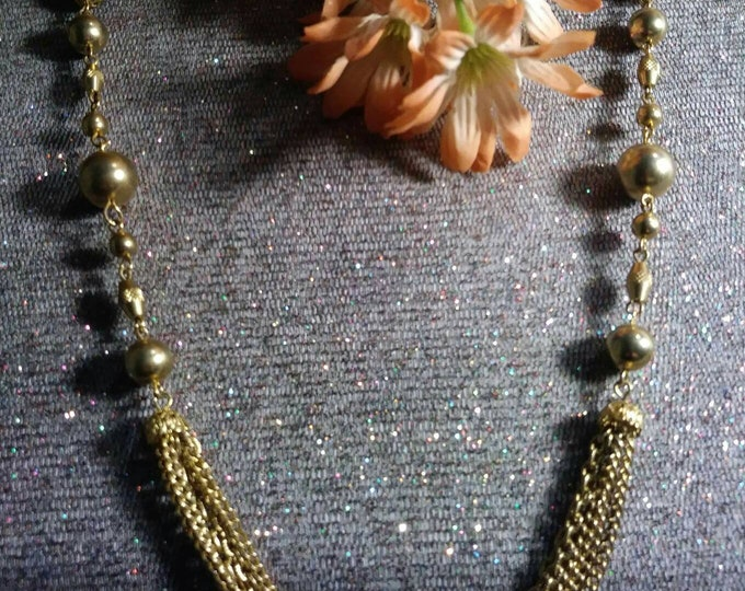 70s retro gold tone beads and chains. Feel the love of  the 70s Mixed Vintageables by Artist Heather Hutcheson. One of a kind.