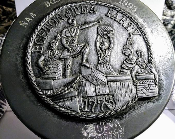 Tin keepsake USA TODAY.  Rare vintage Boston Tea Party raised pewter design tin. 1993