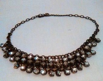 Rhinestones Bib necklace vintage tiered rhinestones necklace lots of style and bling 80s
