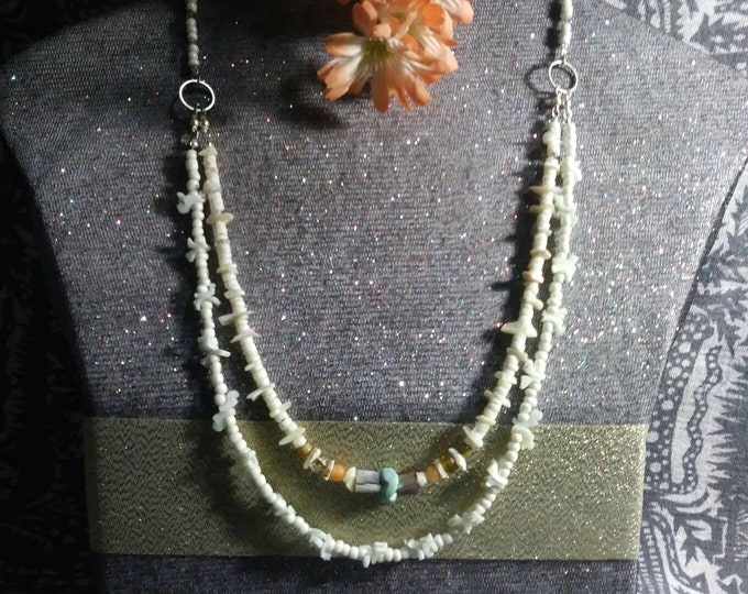Brides Boho earthy jewelry something old, new and blue refurbished vintage mixed vintageables by artist Heather Hutcheson