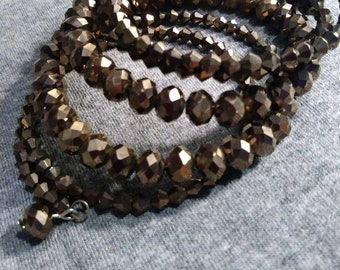 Memory Bracelet Wire Crystal Brown Copper Sparkly. 80s
