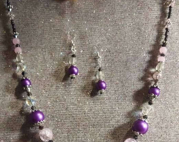 Purple necklace set origial one of a kind vintage bits and pieces transformed into wearable art Artist Heather Hutcheson