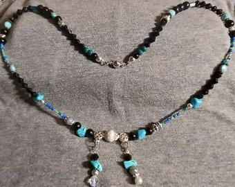 Turquoise and silver boho earring and necklace set. One of a kind.  Mixed Vintageables wearable art designer Heather Hutcheson