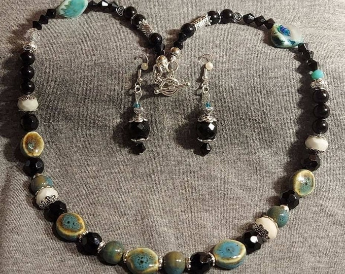 Jet and silver vintage beads Original one of a kind necklace set  bits and pieces of vintage jewery transformed into wearable art