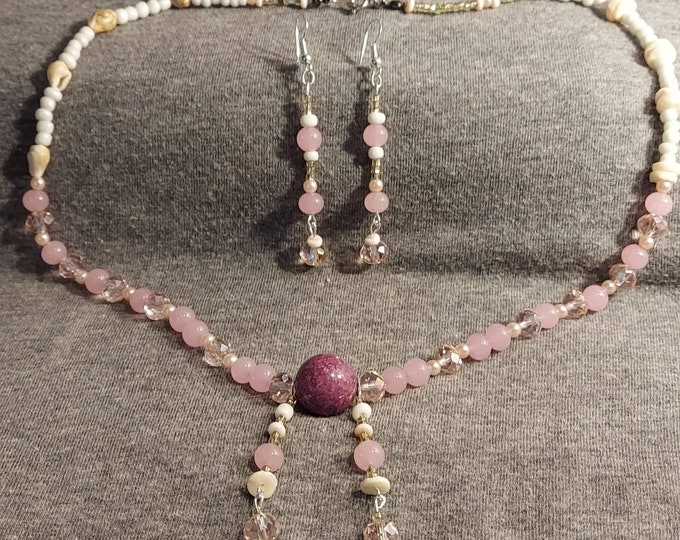 Necklace set vintage pink and white beads and crystals. One of a kind original design by Artist Heather Hutcheson Mixed Vintageables