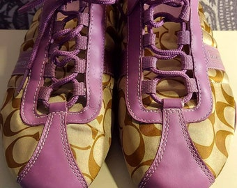 Coach Athletic shoes signature brown beige pink mauve leather trim 9.5 style Kirby