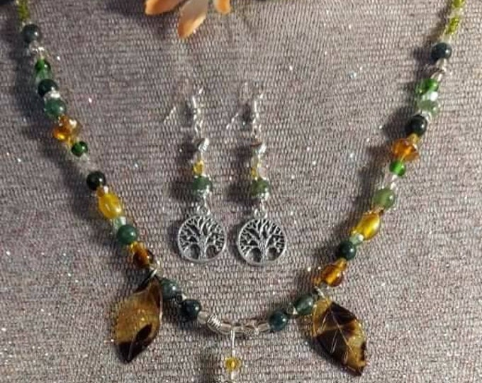 Moss Agate crystal beads original one of a kind necklace.  Mixed Vintageables designs artist Heather Hutcheson